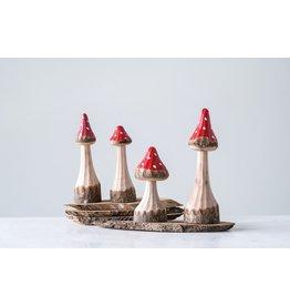 "Creative Co-Op Hand-Carved Wood Mushroom 5.5""H"