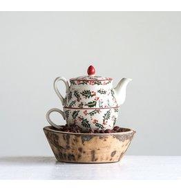 Creative Co-Op Stoneware Teapot Set 16oz