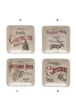 "Creative Co-Op Square Stoneware Dish w/ Vintage Image 4"""