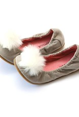 L'AMOUR Madeline Pom Pom Leather Flat in Gray