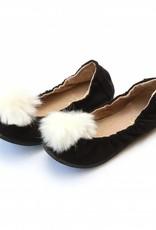 L'AMOUR Madeline Pom Pom Leather Flat in Black