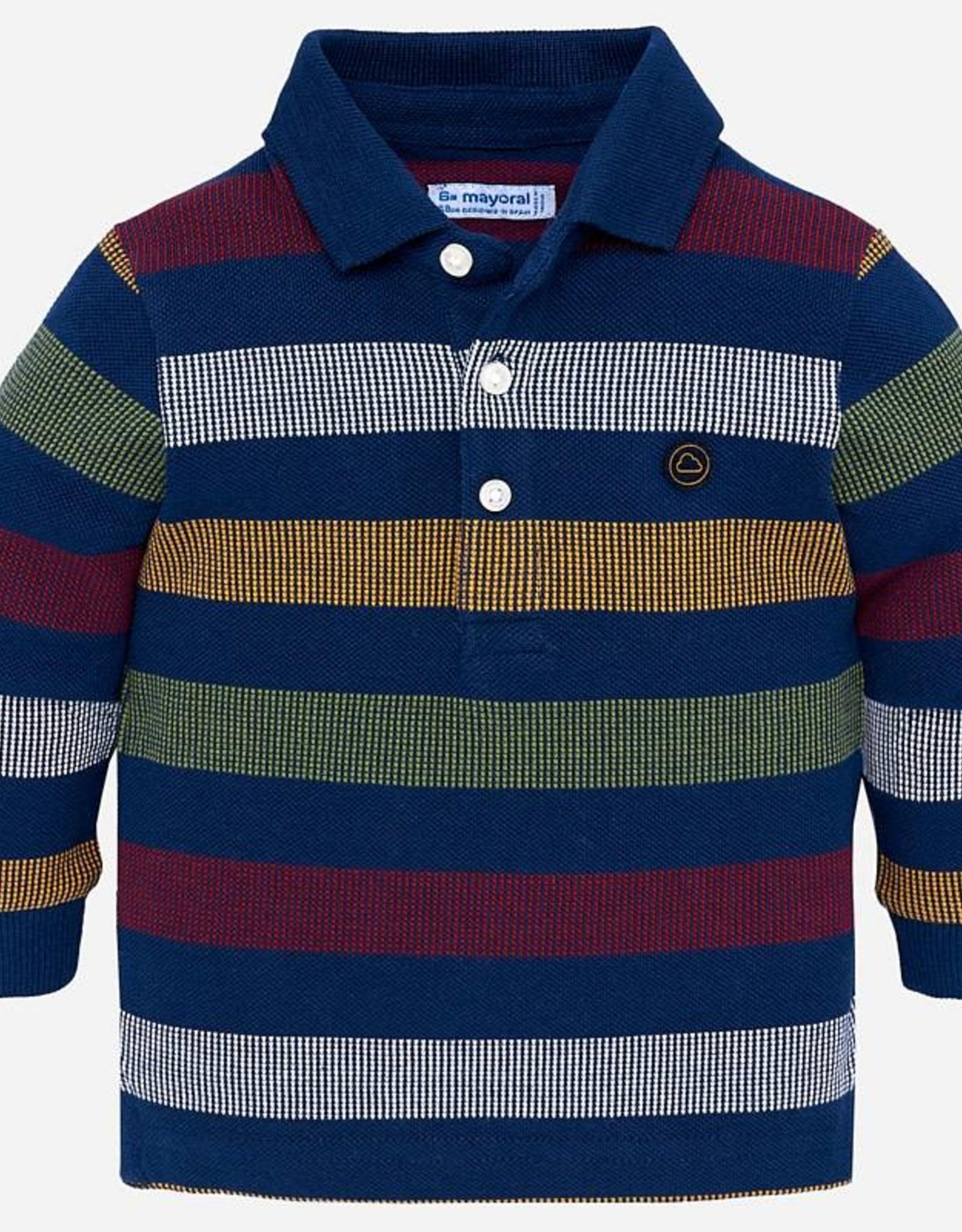 Mayoral Long Sleeve Striped Polo Shirt