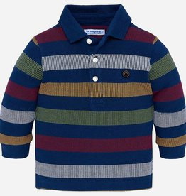 Mayoral Long Sleeve Striped Polo Shirt
