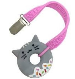 SilliChews Cat Donut Teether With Strap