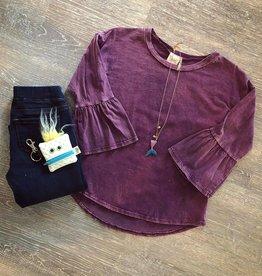 For All Seasons Purple Acid Wash Bell Sleeve Top