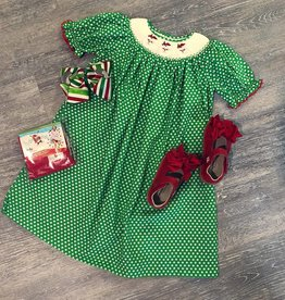 Mom&Me Green Polka Dot Santa Dress
