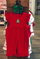 Banana Split O' Christmas Tree Red Corduroy Romper