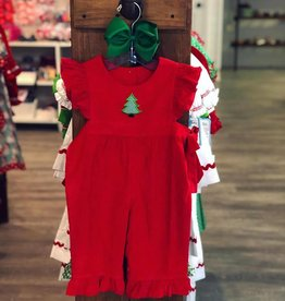 Banana Split O' Christmas Tree Red Corduroy Romper