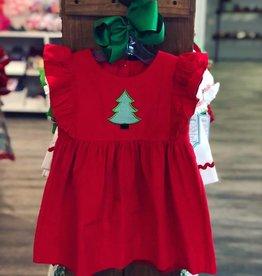 Banana Split O' Christmas Tree Red Corduroy Dress