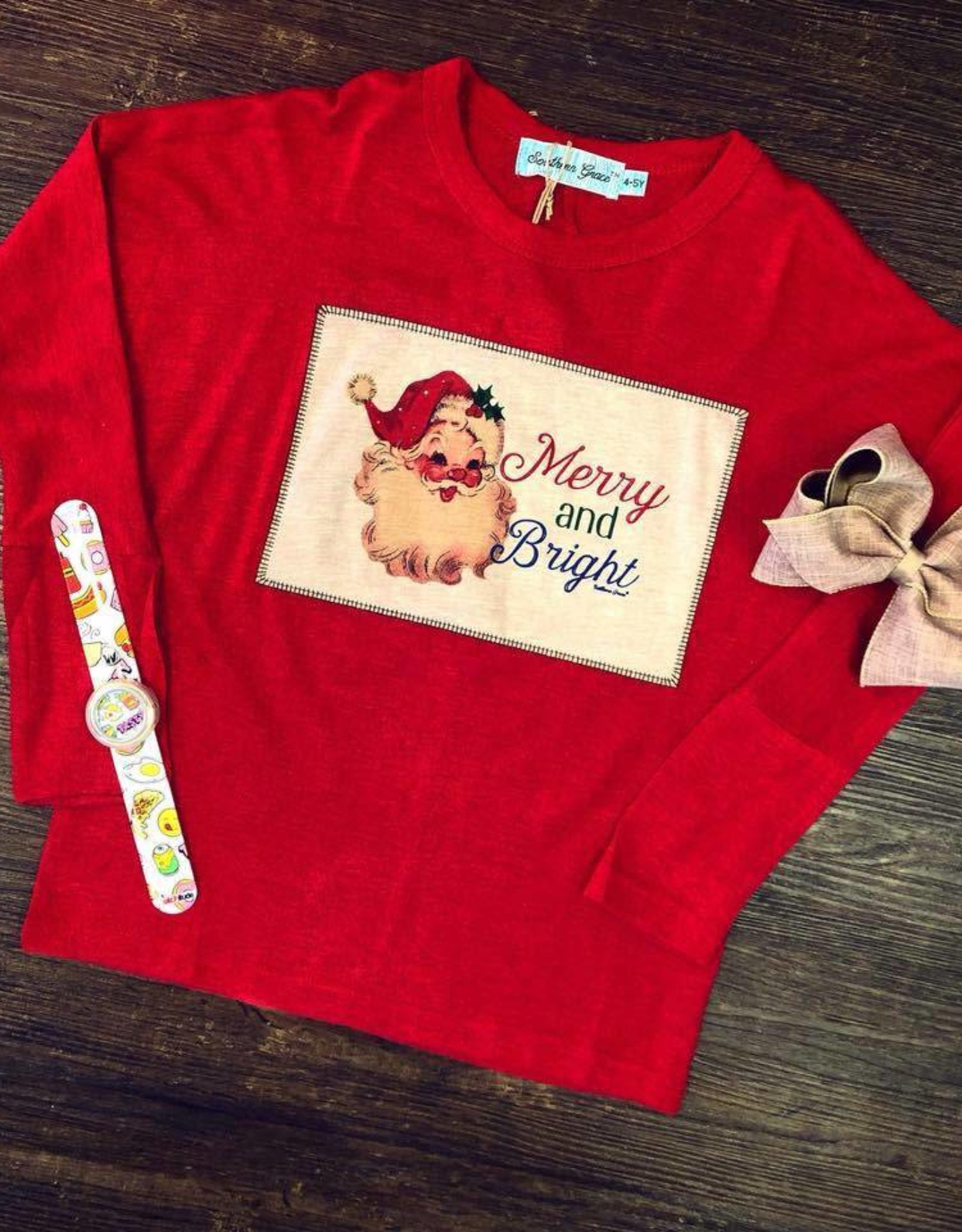Boutique Merry & Bright Santa Top