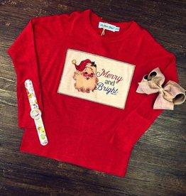 Boutique Merry & Bright Santa Top