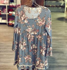 Boutique Knee Length Long Sleeve Floral Dress in Denim