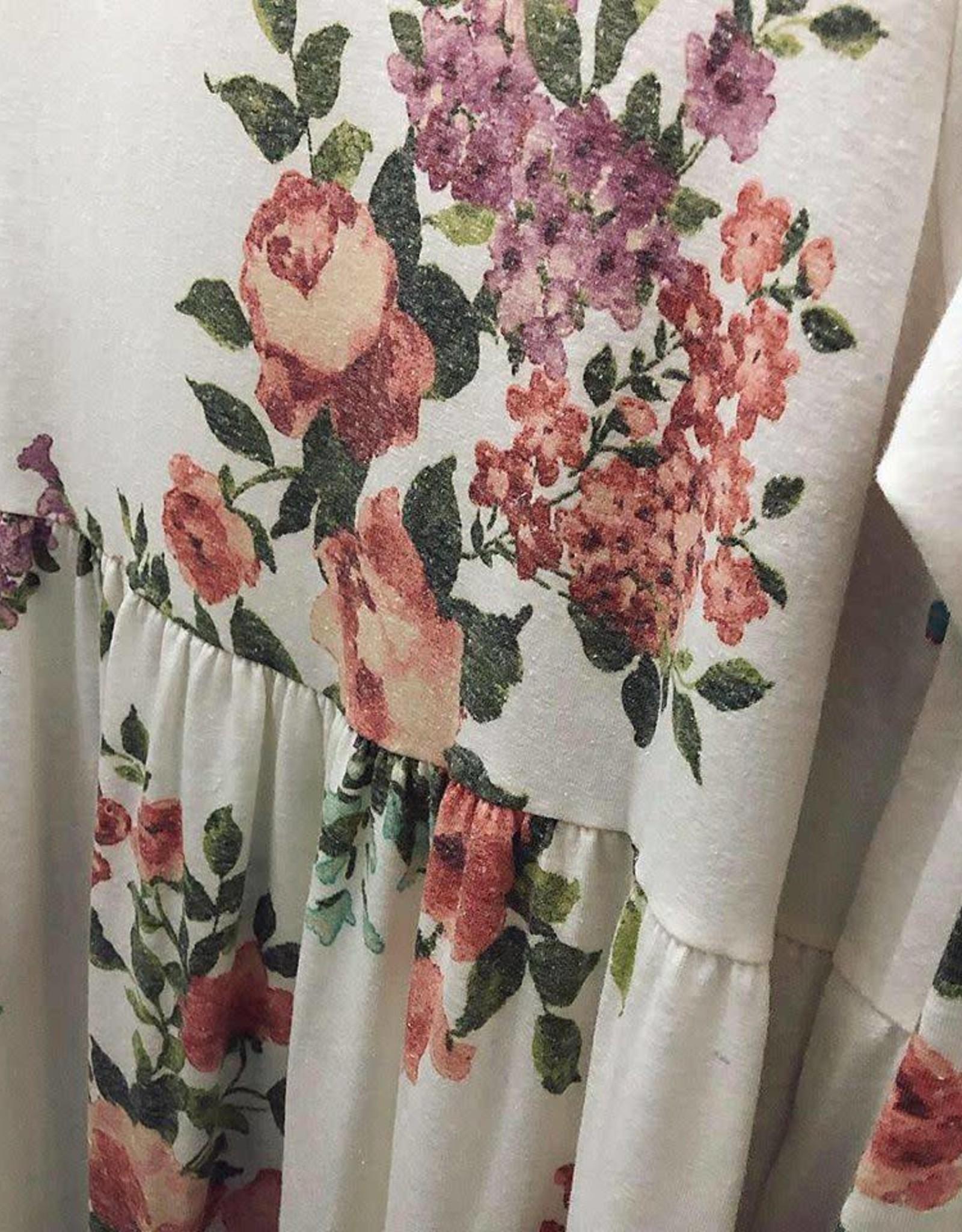 Knee Length Long Sleeve Floral Dress in Cream