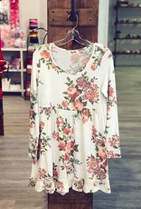 Boutique Knee Length Long Sleeve Floral Dress in Cream