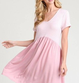 Hayden Stripe BabyDoll V Neck Dress