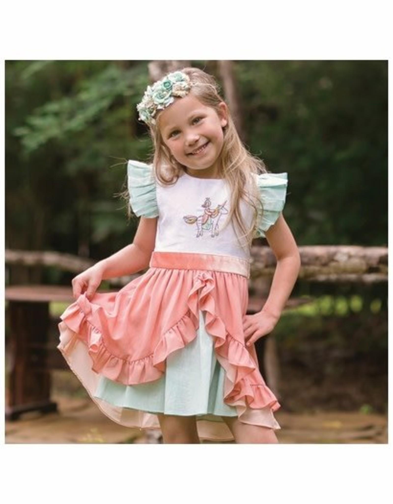 Evie's Closet Evie's Closet Linen Unicorn Embroidered Dress