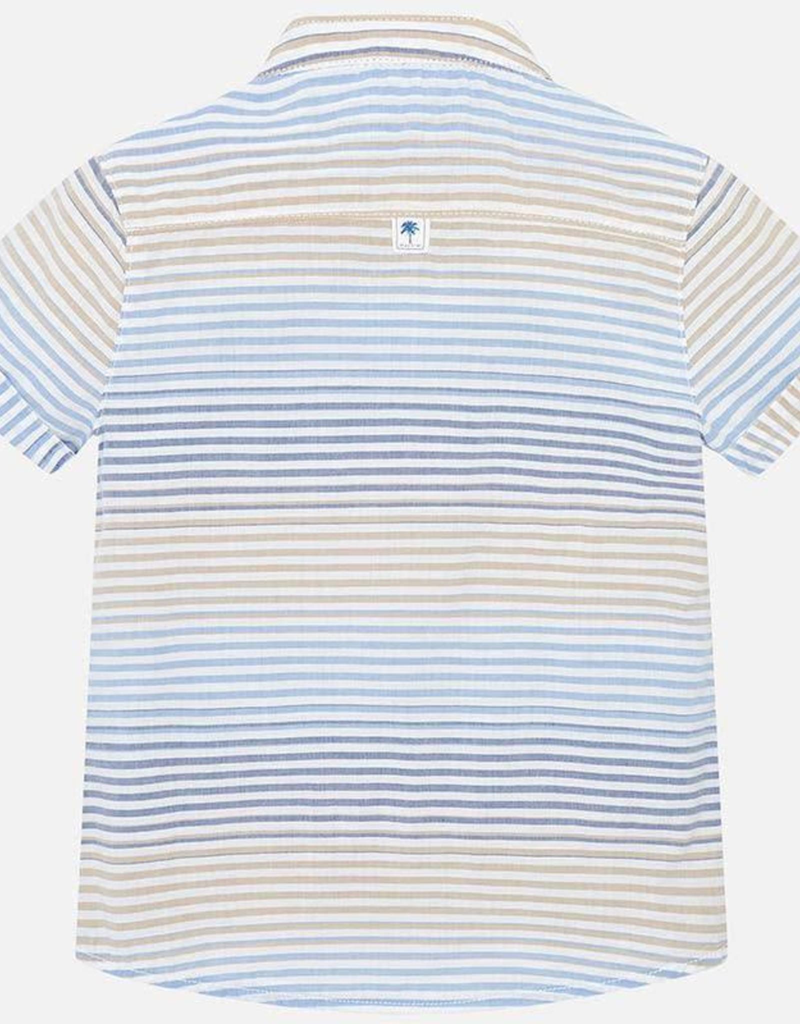 Mayoral Striped Mao Collar Shirt
