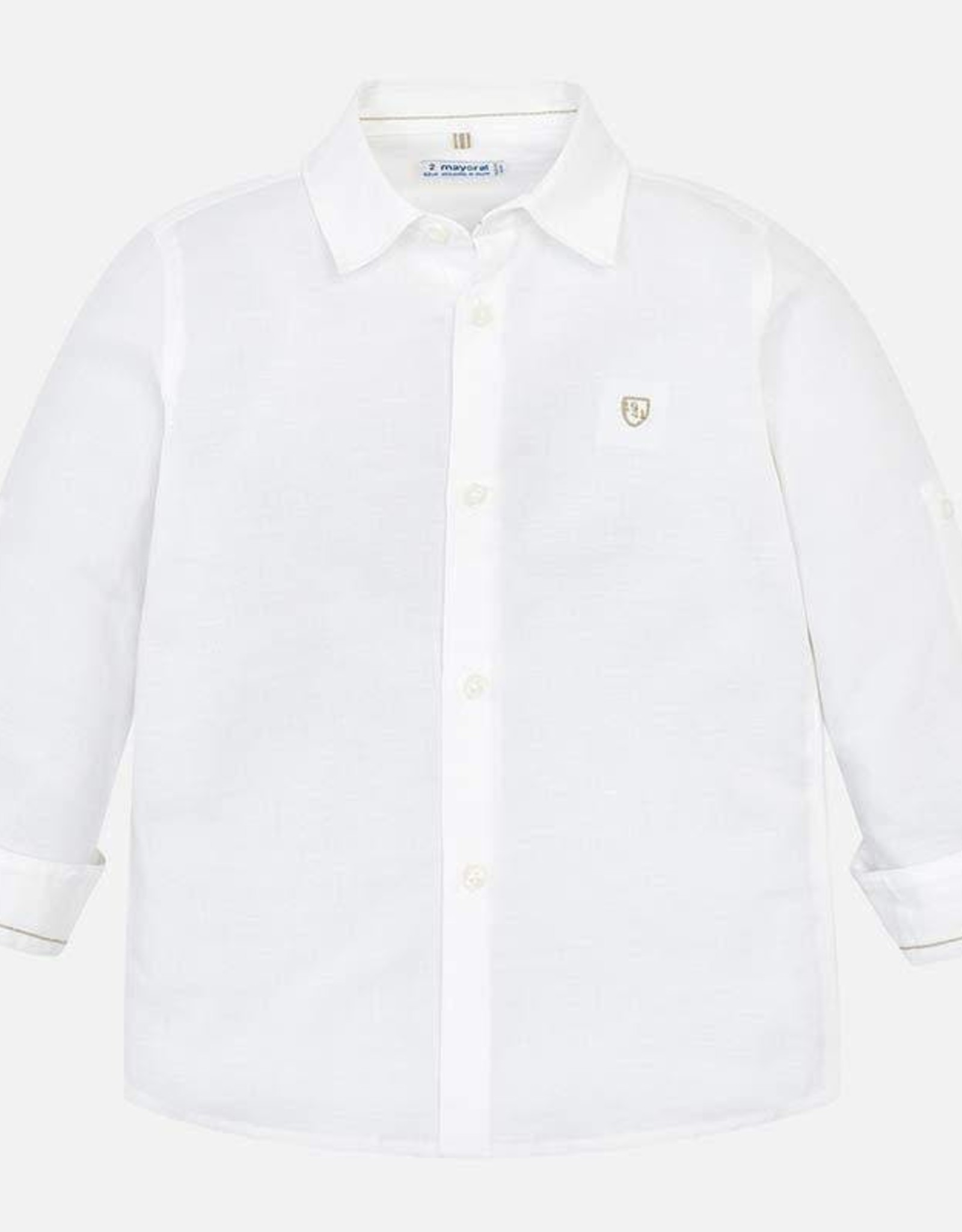 Mayoral White Linen Long Sleeved Shirt