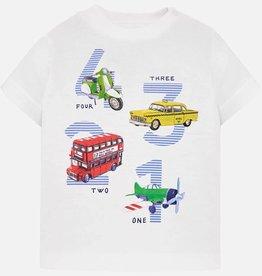 Mayoral White Short Sleeve Vehicles Print T-Shirt