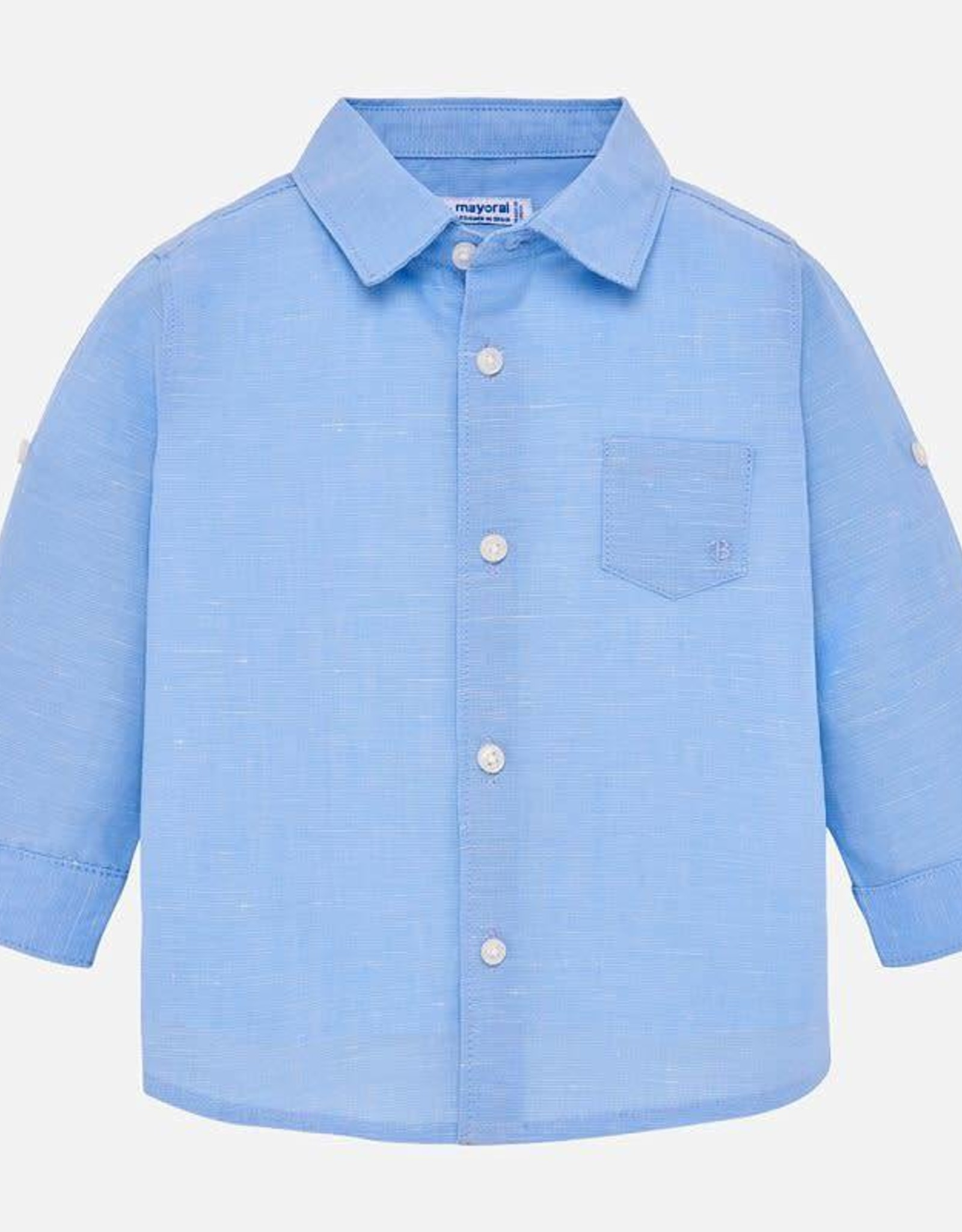 Mayoral Long Sleeve Linen Shirt in Sky Blue