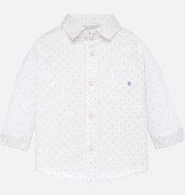 Mayoral Long Sleeved Linen Shirt in Microprint White