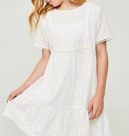 Hayden Embroidered Eyelet Ruffle Mini Dress in Off White