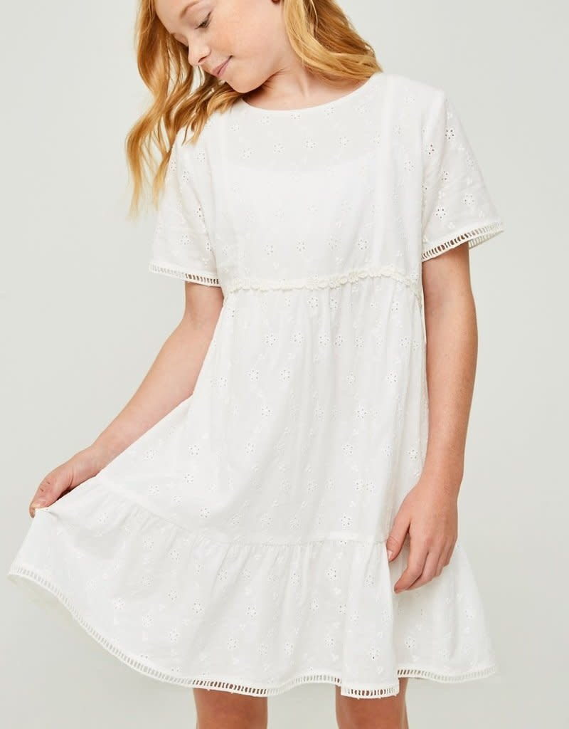 ee933c427eb Hayden Embroidered Eyelet Ruffle Mini Dress in Off White - Marlee Janes
