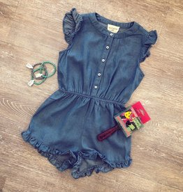 Hayden Button-Down Ruffle Detail Romper in Mid Denim