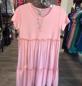 Pomelo Short Sleeve Ruffled Hem Dress in Rose