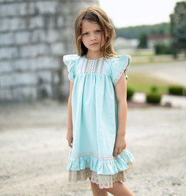 Little Prim Clara Dress in Aqua