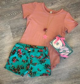 Pomelo Floral Green Shorts