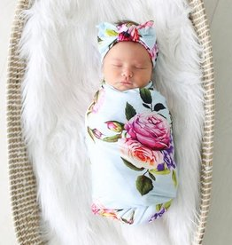 Posh Peanut Country Rose Infant Swaddle and Headwrap Set