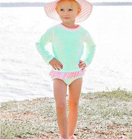 RuffleButts Mint Seersucker Long Sleeve Rash Guard Bikini