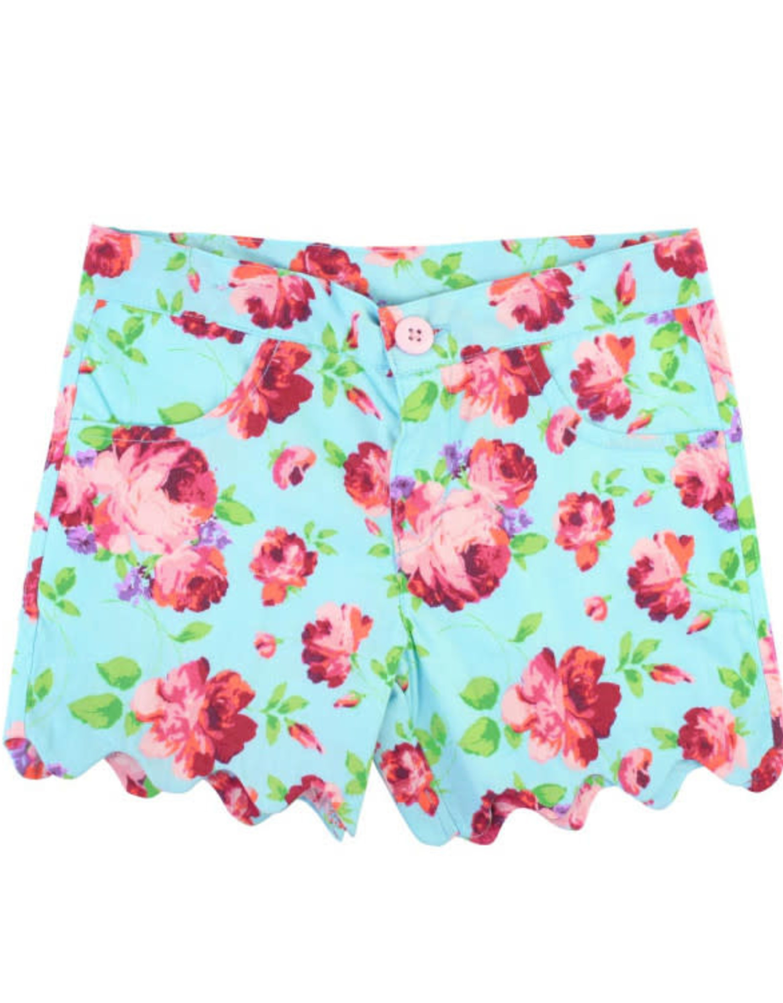 RuffleButts Life is Rosy Scallop Shorts
