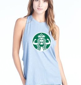 Dusty Blue Starbucks Workout Tee