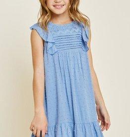 Hayden Lace Dobby Ruffle A-Line Dress in Powder Blue