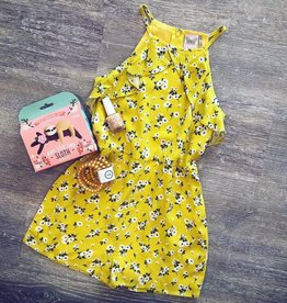 For All Seasons Yellow Floral Linen Romper