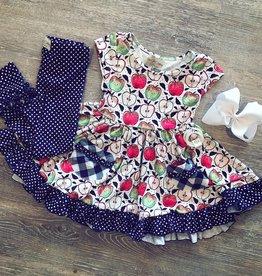 Be Girl Clothing Navy Dot Classic Ruffle Legging