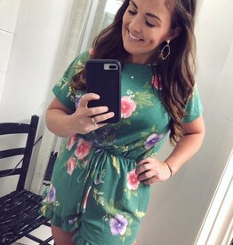 First Love Green Floral Romper w/Pockets