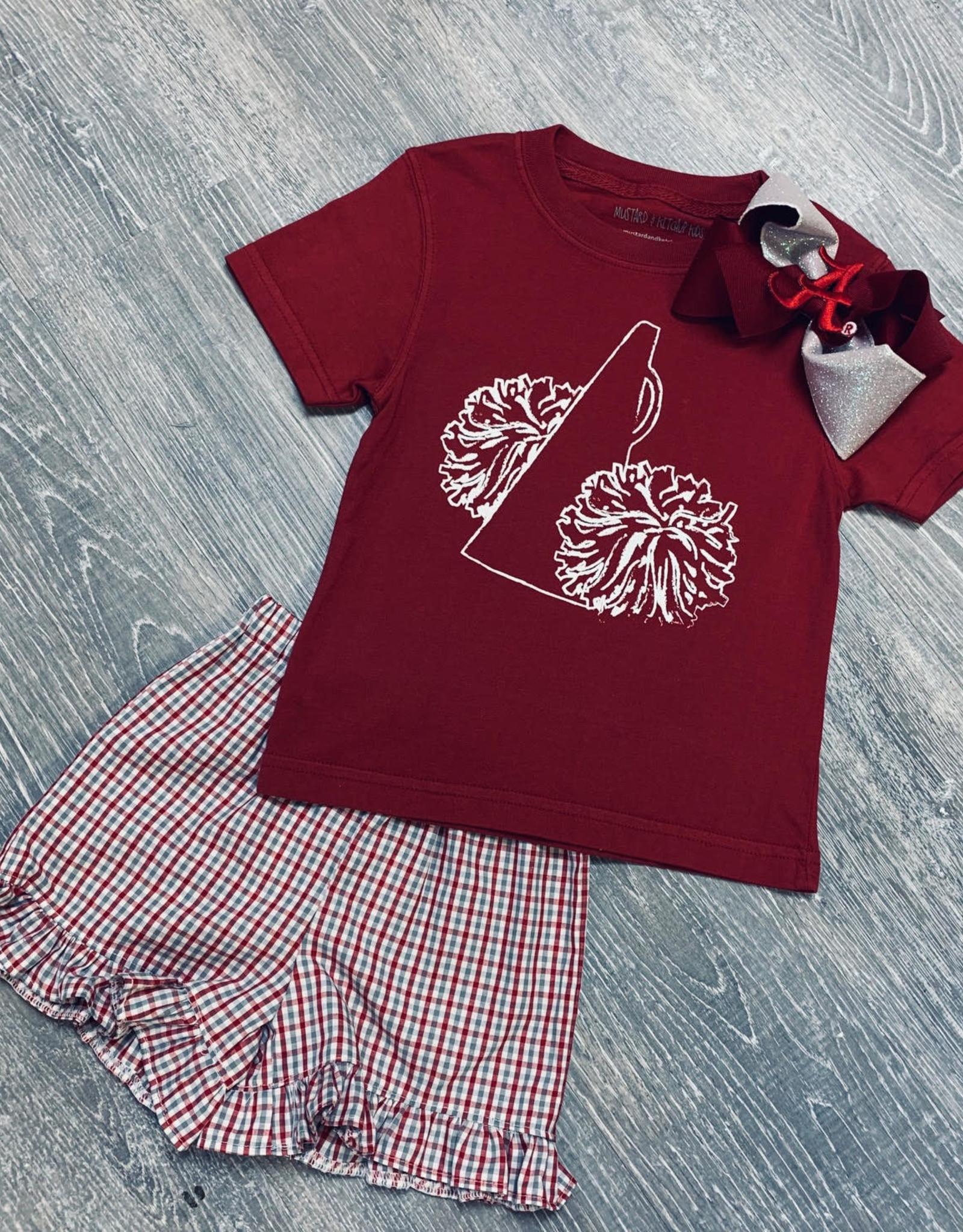 Mustard&Ketchup Kids Crimson & White Pom Pom T-Shirt