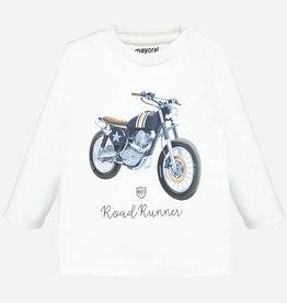 "Mayoral Long Sleeve ""Road Runner"" T-Shirt in Cream"