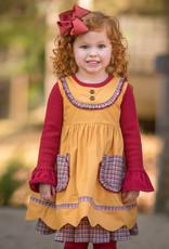 Evie's Closet Mustard/Plaid Trim Dress/Shirt