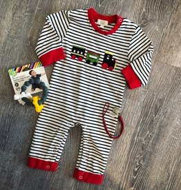 Honeydew Train Applique Striped Romper