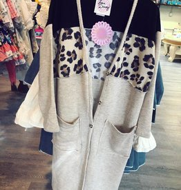 Love Daisy Color Block Animal Print Long Cardigan