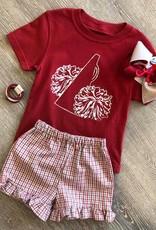 Mustard&Ketchup Kids Girls Crimson/Gray Ruffled Gingham Shorts