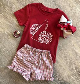 Mustard&Ketchup Kids Girls Crimson/Gray Ruffled Gingham Shorts