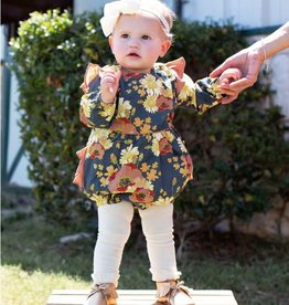 RuffleButts Blossom Bliss Flutter Bubble Romper