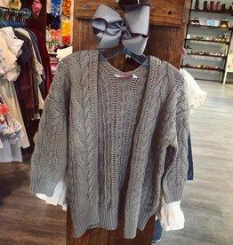 RuffleButts Grey Chunky Knit Cardigan