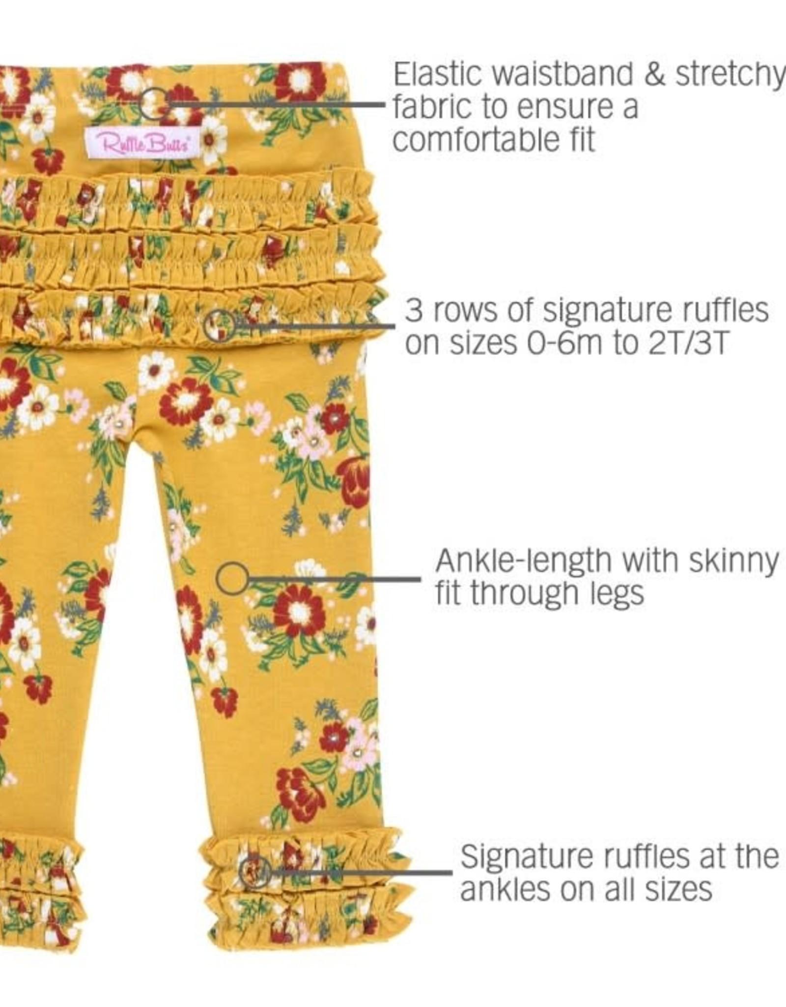 RuffleButts Golden Gardenias Ruffle Leggings