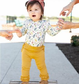 RuffleButts Golden Yellow Ruffle Leggings